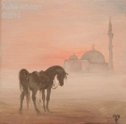 2-february-7 arab landscape mosque horse painting arabian