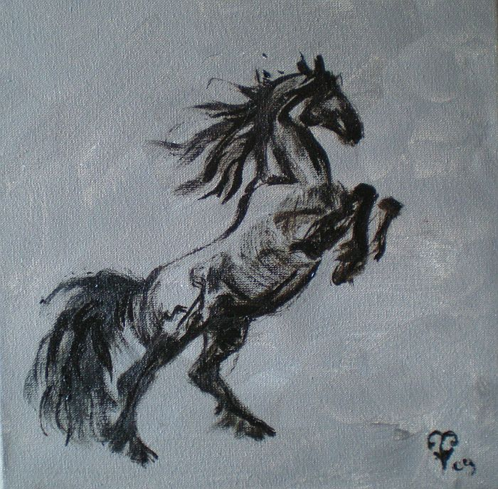 30 october frisian stallion painting
