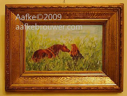 aafke brouwer horses equine art oilpainting portrait Rabhar in meadow