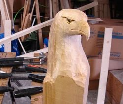 American eagle head carving by aafke art