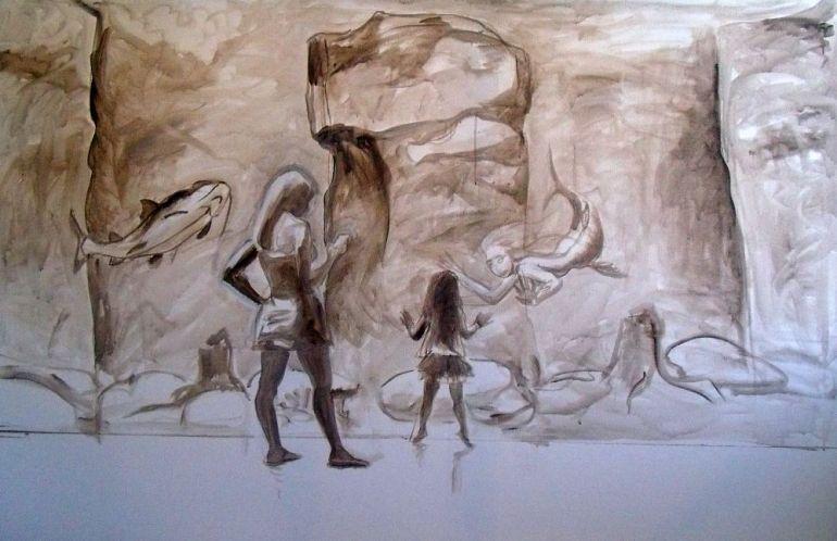 At the Dallas Aquarium sketch